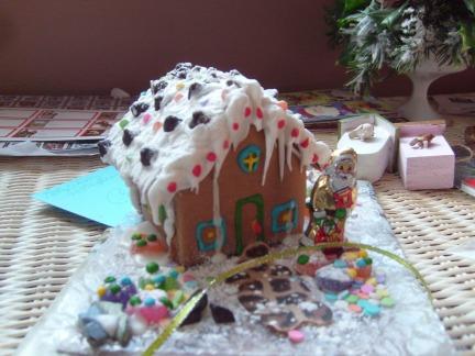 Neighbor gave me the cutest miniature gingerbread house