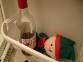 Found my dollar store elf sneaking wine again
