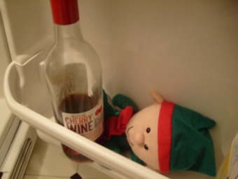 Found my dollar store elf sneaking wine again