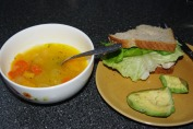 Carrot and squash soup with turkey on whole wheat & avocado
