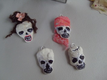 Crazy skull heads from air clay
