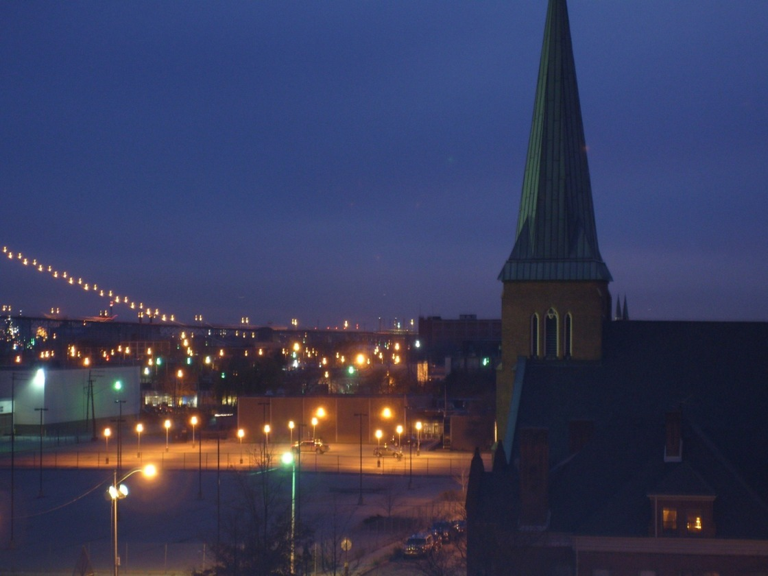Detroit at twilight.  You can see part of the Ambassador Bridge.