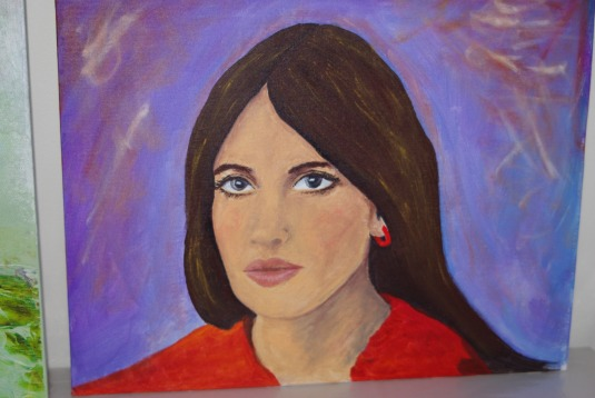 Attempt at portrait in acrylics.  Used to oils and even with medium to thin, didn't like the texture of the paints.