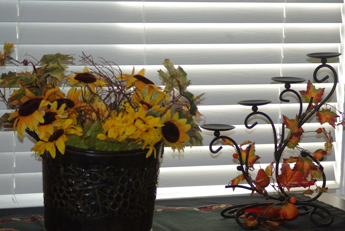 Made arrangement with container from yard sale, silk flowers and branches from my yard.