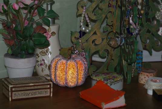 Beaded pumpkin for my dresser.
