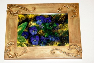 Glue gun enhanced wood frame, painted for altered photo of violas.