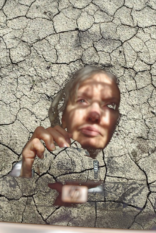 Using PhotoDraw cutout and filled with dry earth.