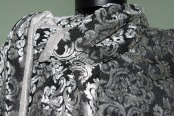 Damask textured velvet fabric.