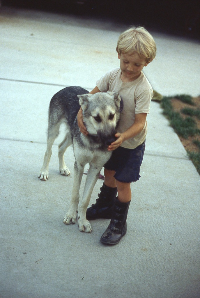 Boy and his dog.