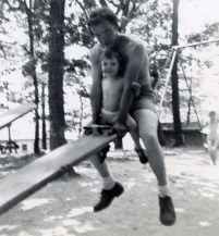 Dad and me playing on the Seesaw. I used to be so scared of those things!