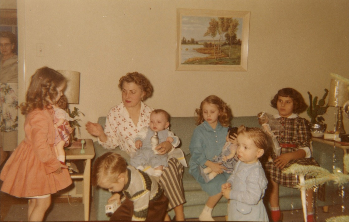 From far left, Aunt Ruth, sister Gail, cousin Thelma, Bro Bryan, Me, cousin Brenda, Front Bros Bob & Don
