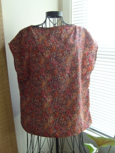 Blouse repurposed from 1980's skirt.