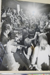 "Dick Tripp took this of us interviewing the Herman's Hermits.  That's me where I wrote ""me"" on the picture."