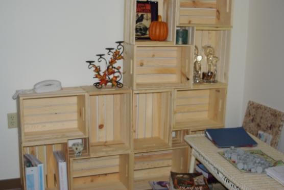Twelve crates in progress.