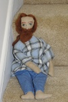 Created a doll of one of my sons without a pattern and dressed in cloth from his recycled clothes.