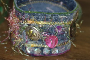 Decorated fabric cuff.