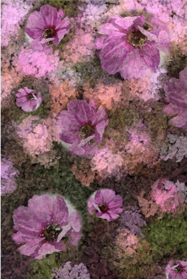 Created by layering individual flowers with various effects on the computer.